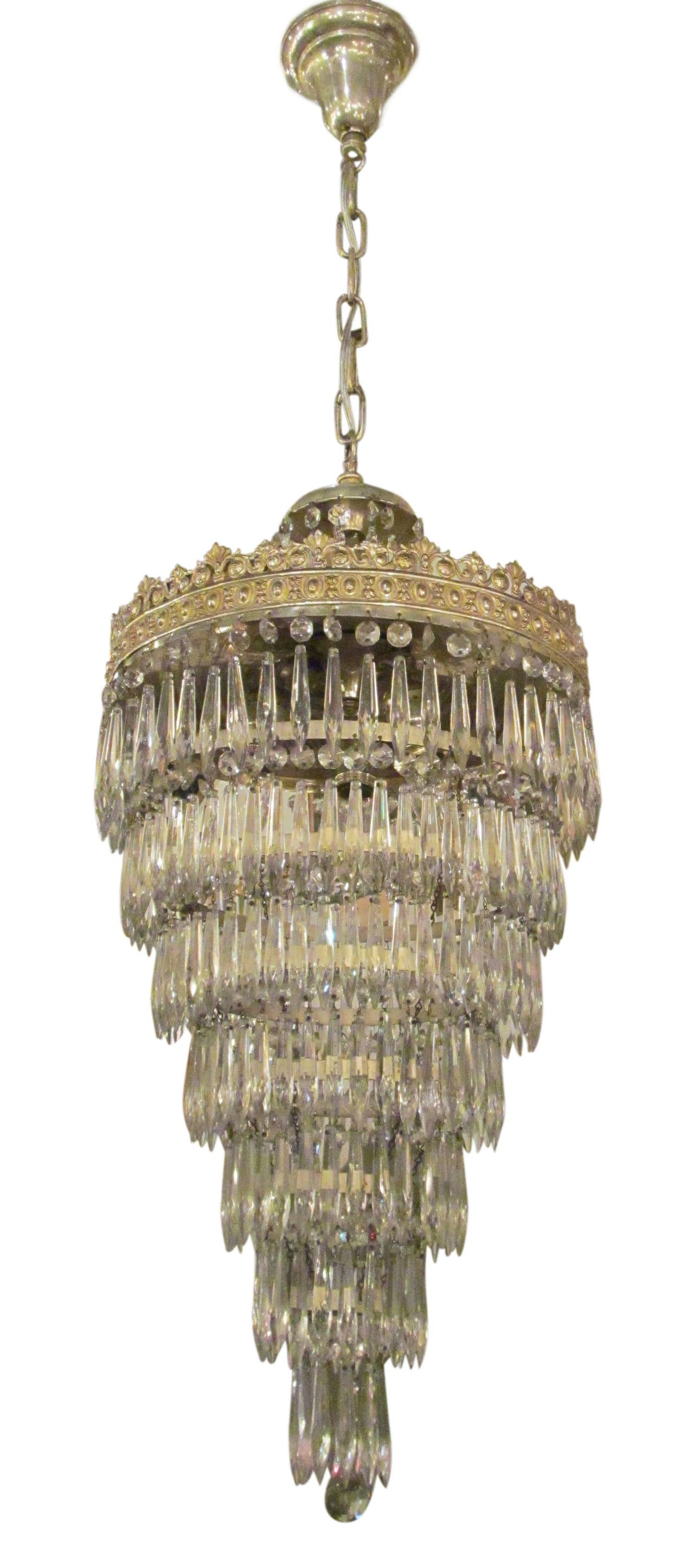 1930s Silver Plated Wedding Cake Chandelier at 1stdibs