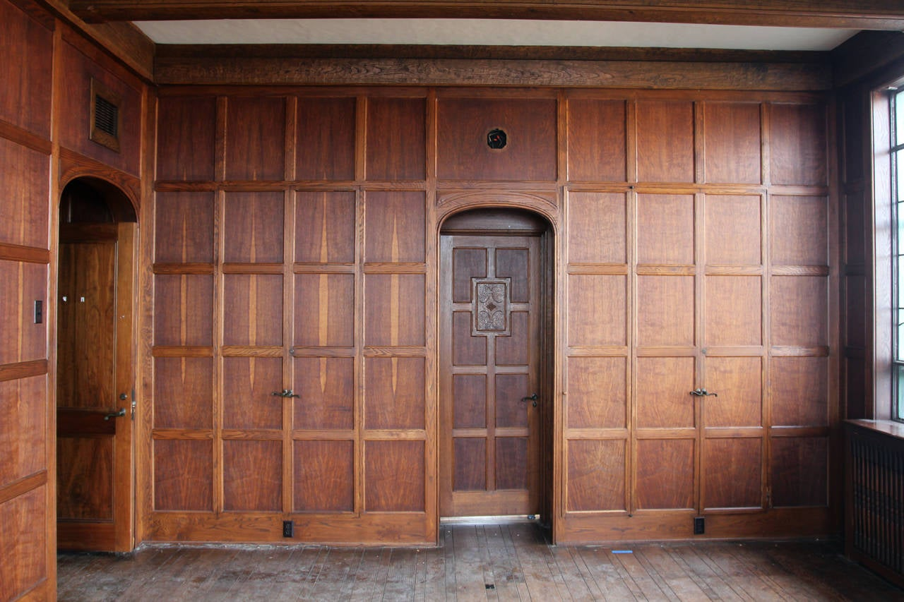 1905 tudor style english oak paneled room from two rivers How to cover old wood paneling