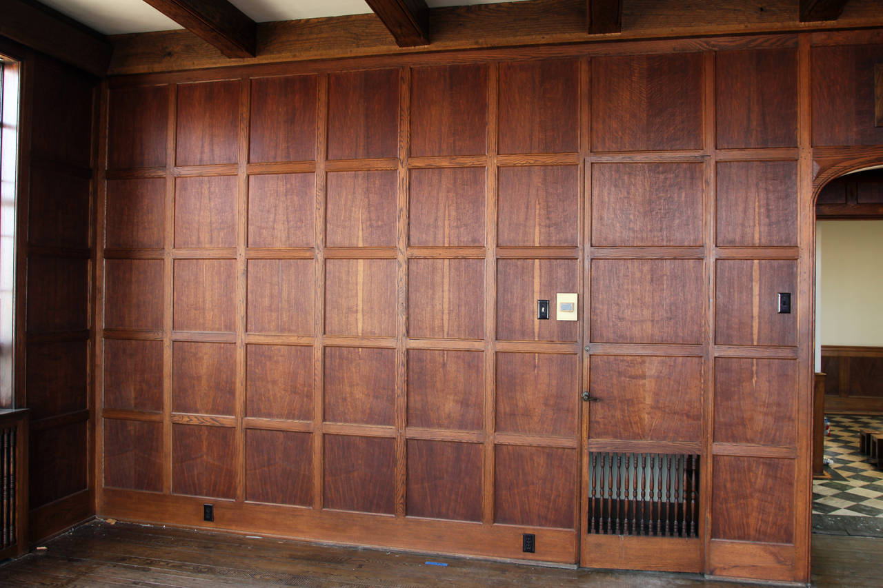 Oak Wall Paneling : Tudor style english oak paneled room from two rivers