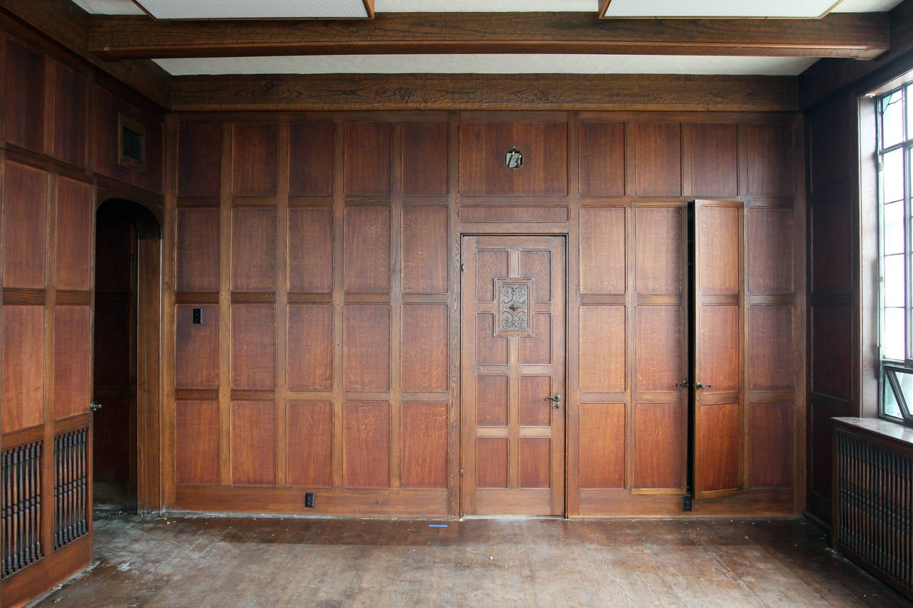 1905 Recessed Solid English Oak Paneled Room From Two