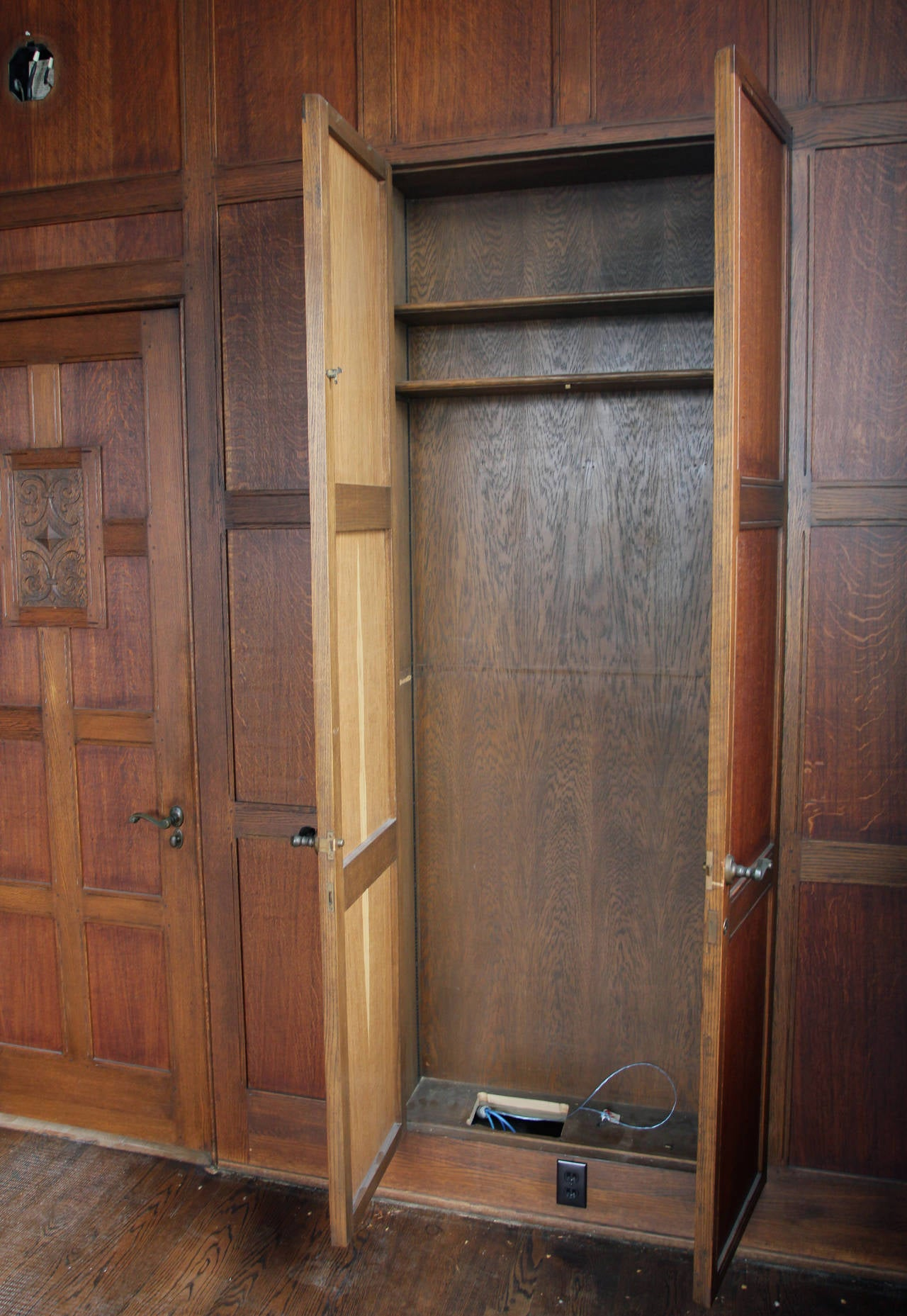 Oak Paneled Room: 1905 Recessed Solid English Oak Paneled Room From Two