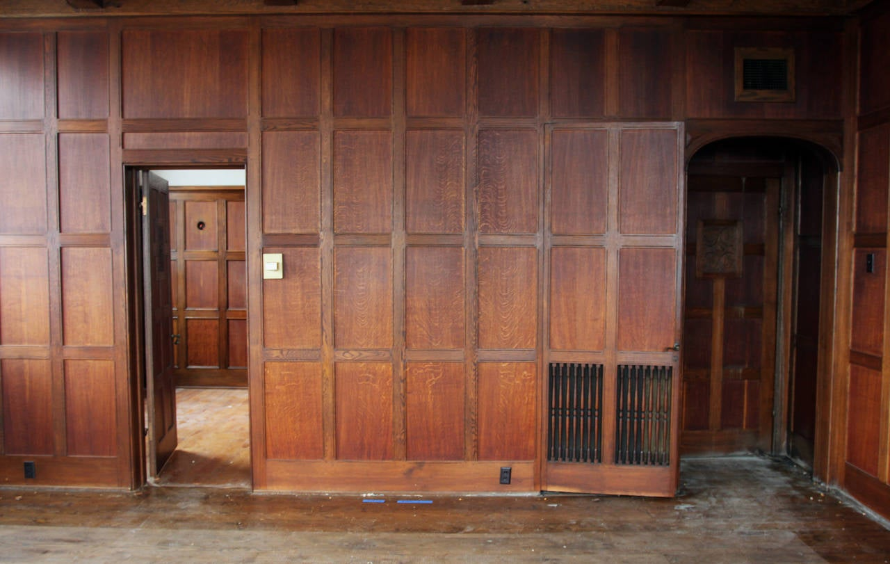 Oak Paneled Rooms : Recessed solid english oak paneled room from two