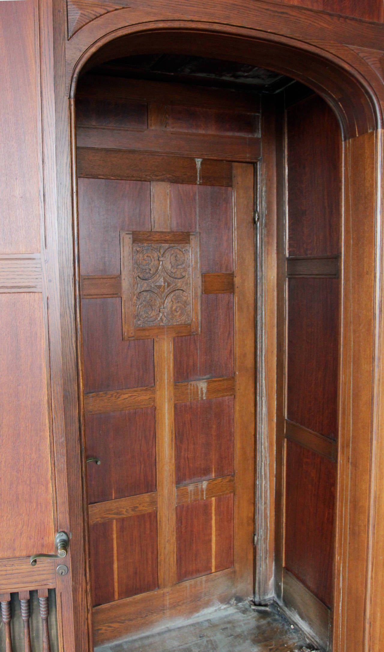 Panelled Room: 1905 Recessed Solid English Oak Paneled Room From Two