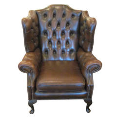 Vintage English Leather Wingback Chesterfield Chair with Thumbtacks