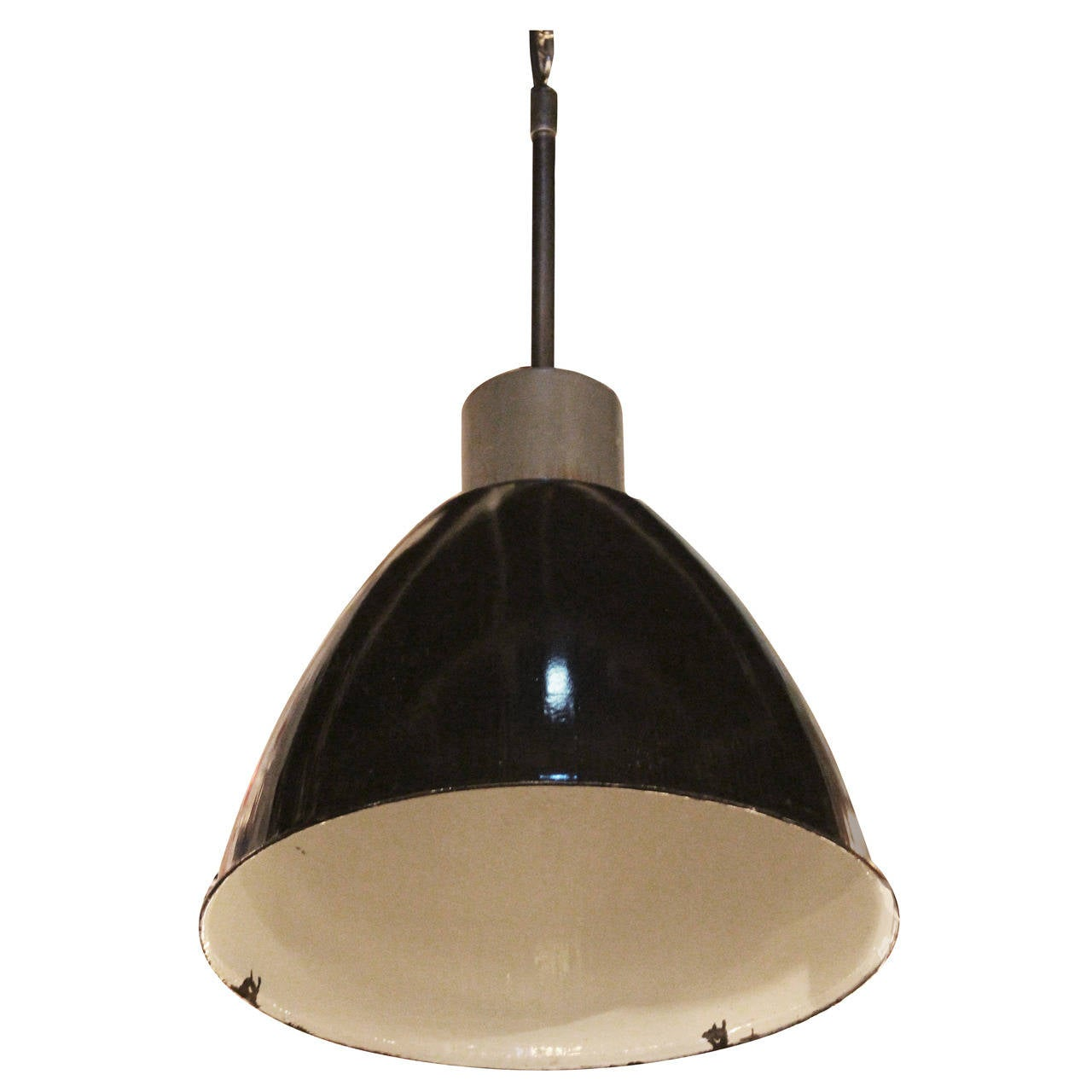 black enamel industrial pendant light from belgium at 1stdibs