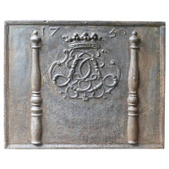 18th Century Monogram Fireback with the date 1730