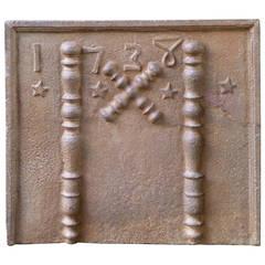 Pillars with Saint Andrew's Cross Fireback, Dated 1738