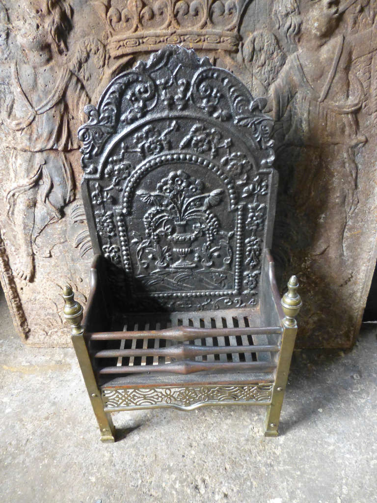 19th c fireplace grate with 18th c fireback for sale at 1stdibs