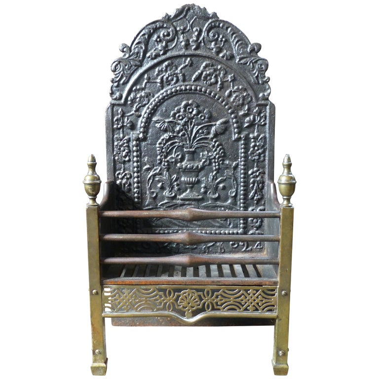 19th c. Fireplace Grate with 18th c. Fireback For Sale at 1stdibs