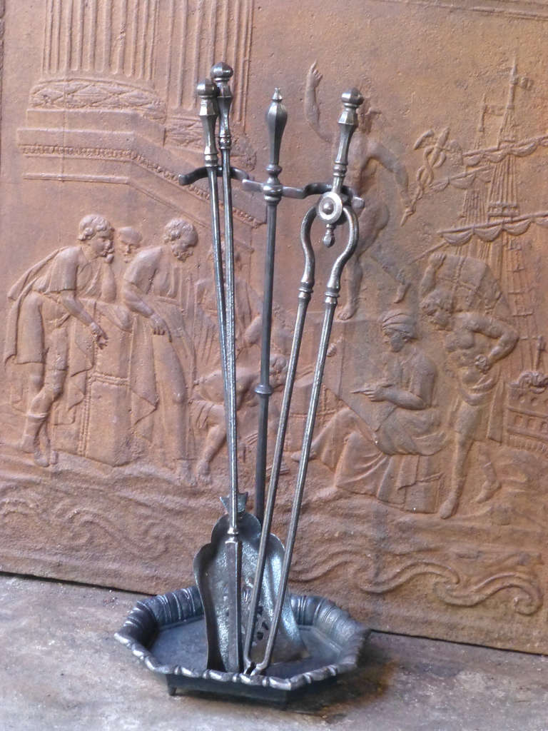 19th Century Wrought Iron Fire Tool Set and Stand at 1stdibs