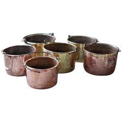 Antique Copper Fireplace Log Baskets, Log Holders