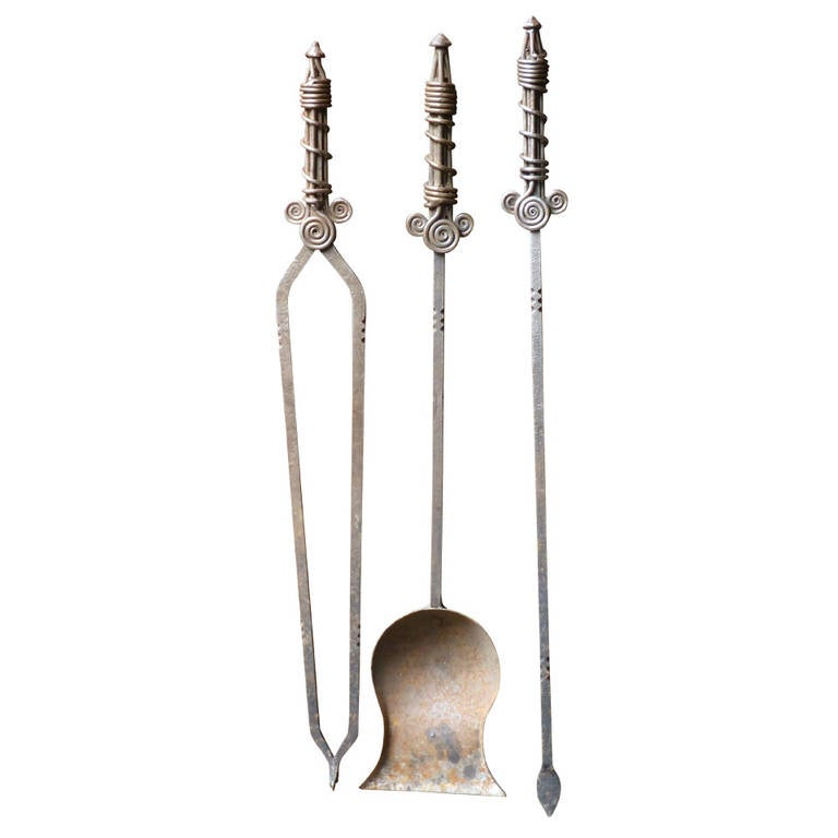 20th century arts and crafts fireplace tool set for sale for Arts and crafts tools
