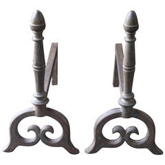 18th to 19th Century Cast Iron Andirons