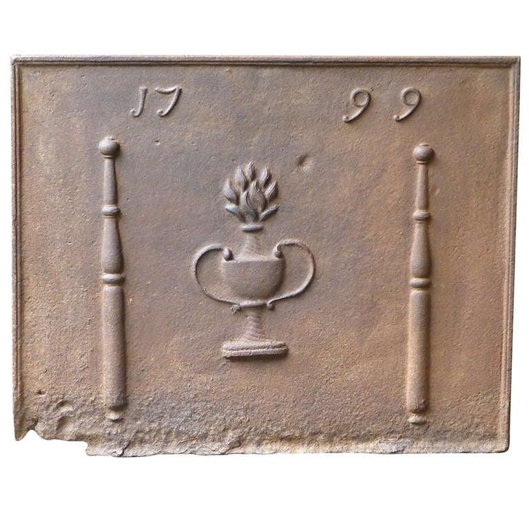 18th Century Pillars with Flower Basket Fireback Dated 1799