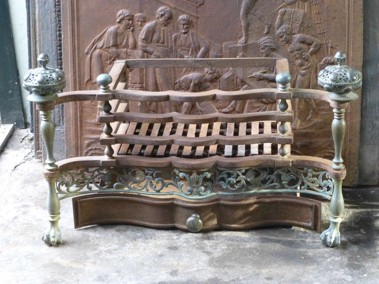 arts and crafts fireplace basket grate 2