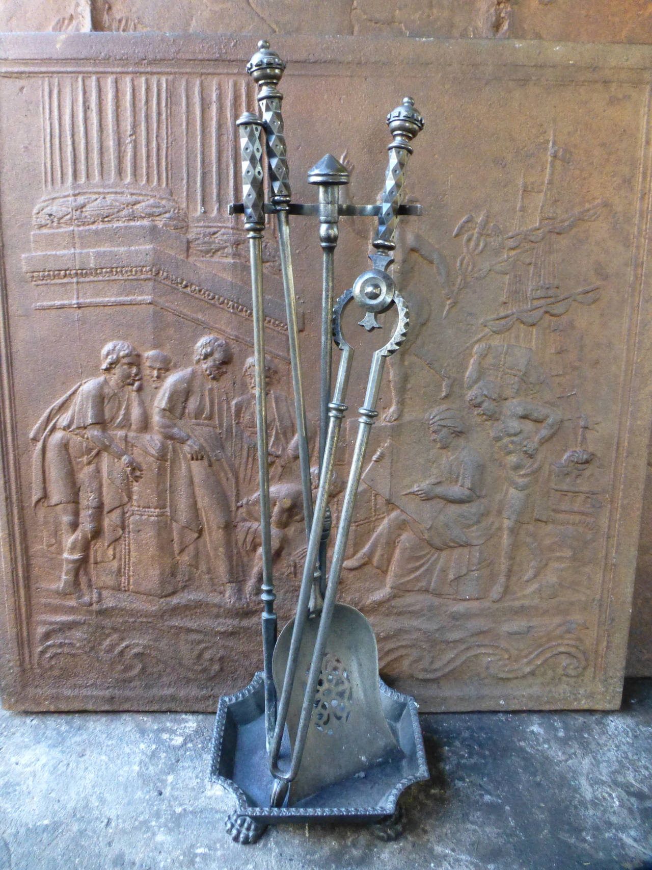 Steel Fireplace Tools : Th century polished steel fireplace tool set and stand