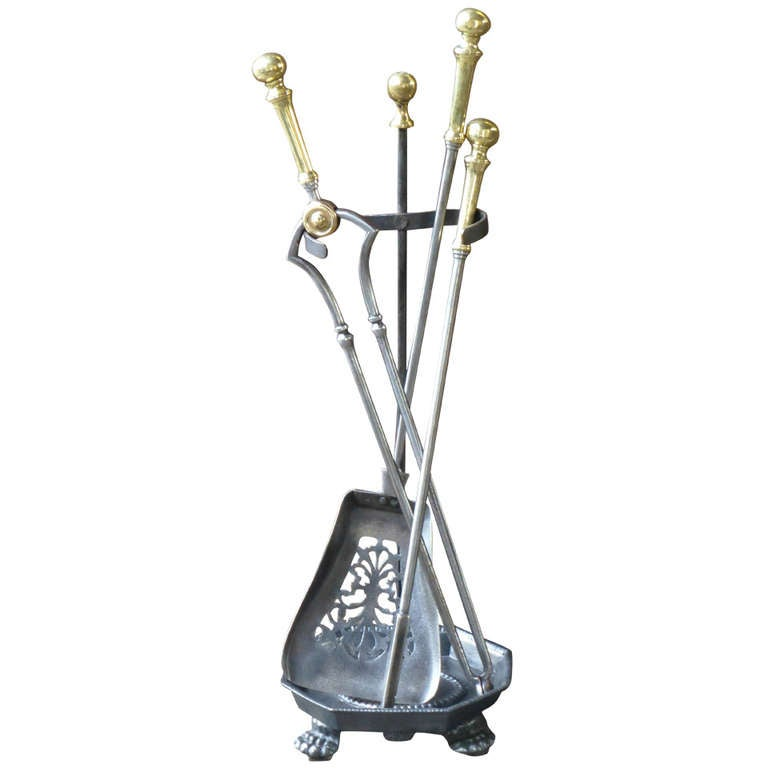 Fireplace Design fireplace tongs : 19th c. Polished Steel and Brass Fireplace Tool Set and Stand at ...