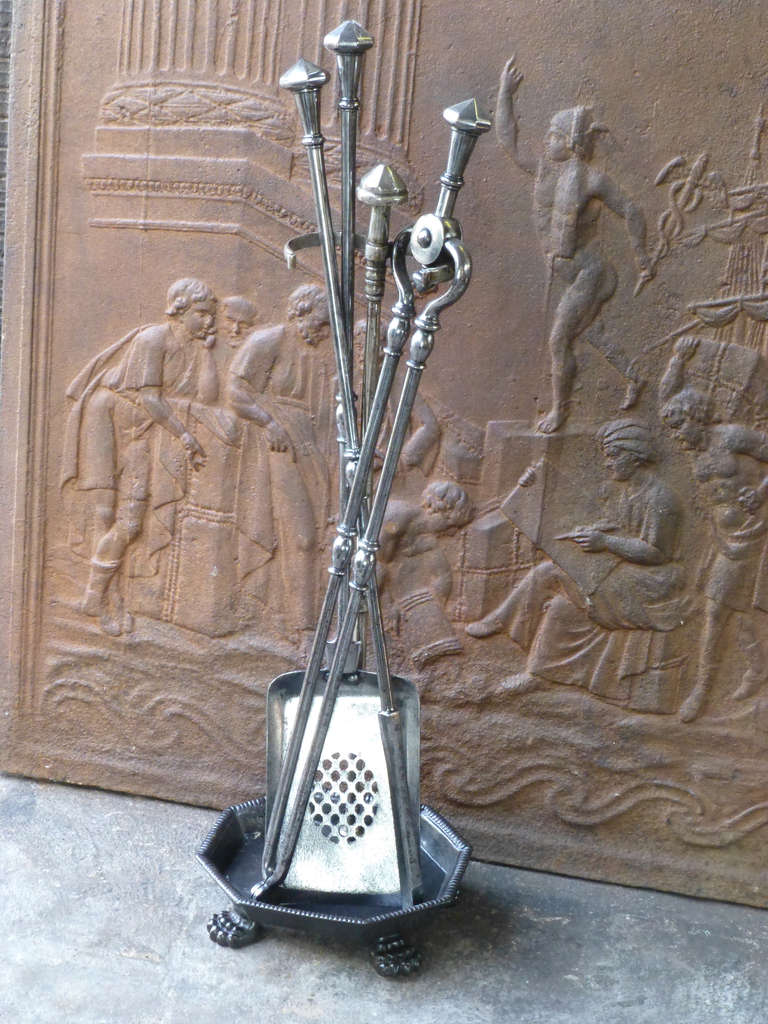 19th c polished steel fireplace tool set and stand at 1stdibs
