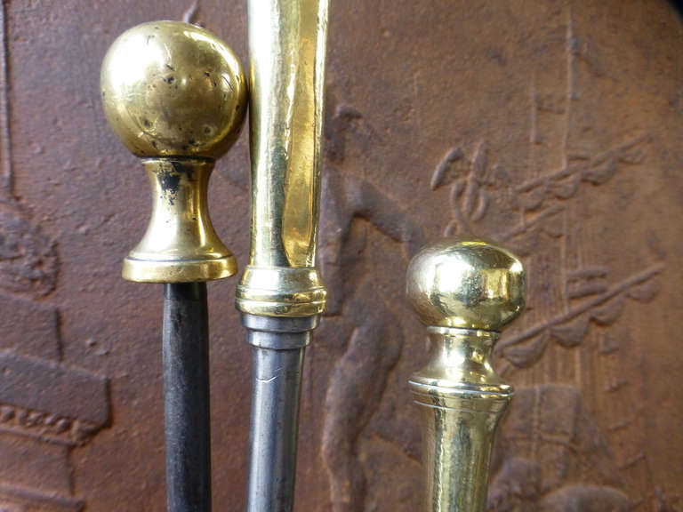 19th c Polished Steel and Brass Fireplace Tool Set and