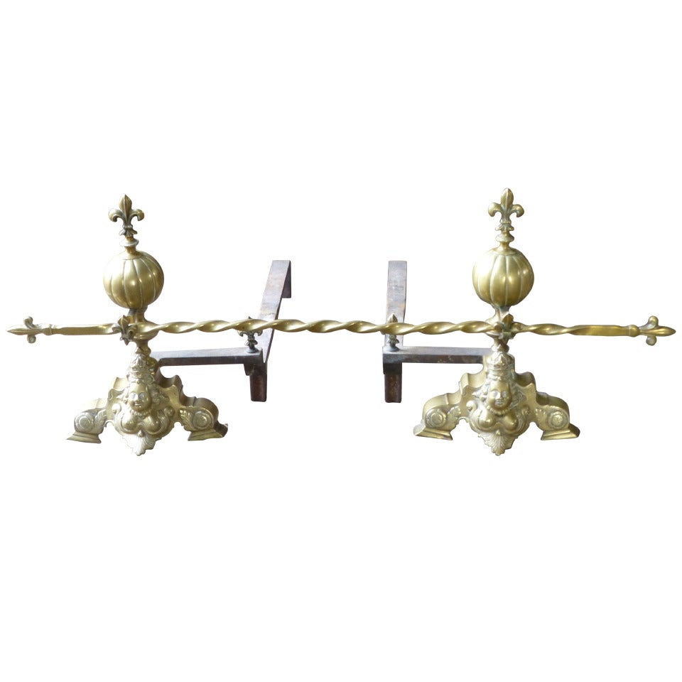 Antique French Louis XIV Style Andirons, Firedogs, 19th Century