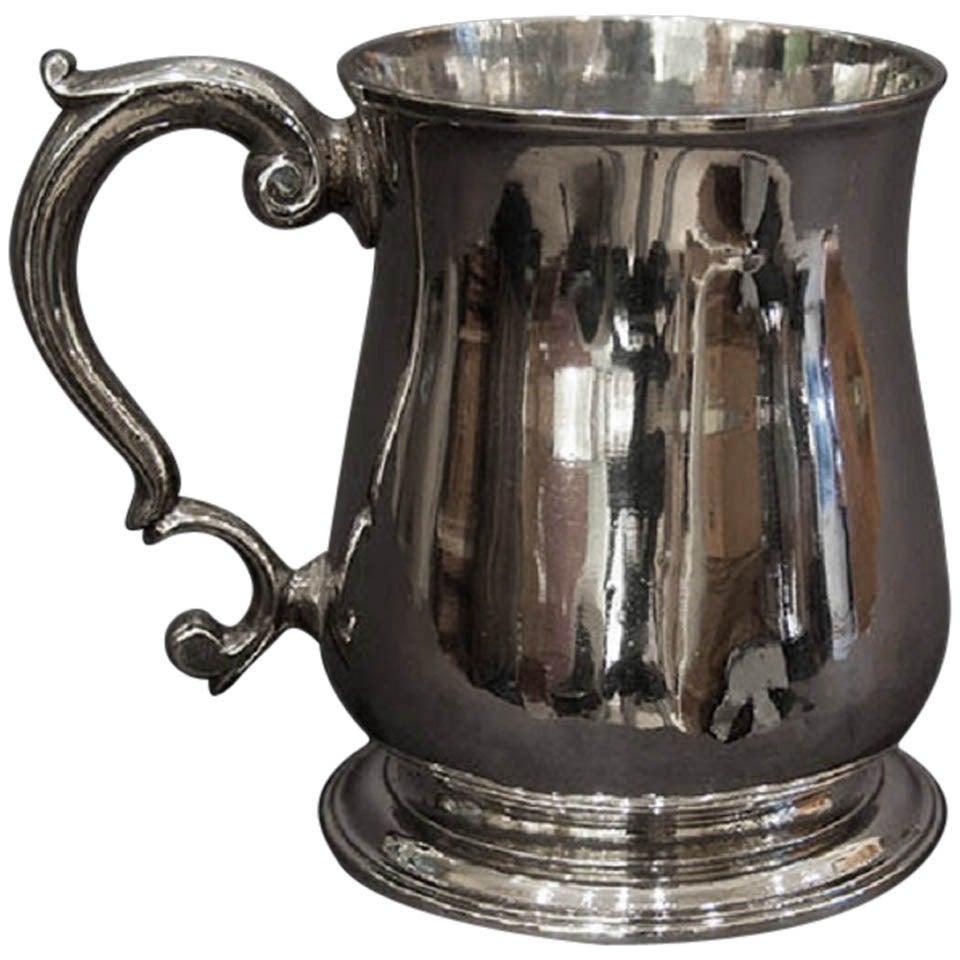 George II Antique English Sterling Silver mug / tankard