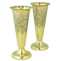 Pair Antique Silver-gilt Vases