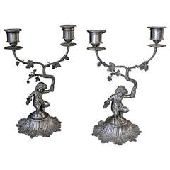 Pair of Antique English Sterling Silver Victorian Candelabras