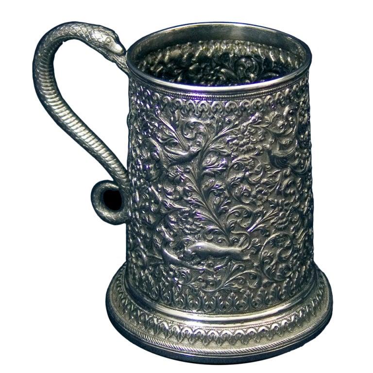 Oomersee Mawji Antique Indian Silver Tankard