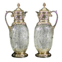 Pair of Antique Silver and Carved Glass Claret Jugs