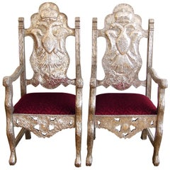18th Century Bolivian Silver Repousse Chairs