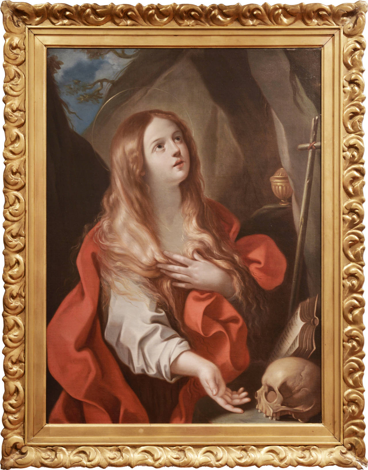 This oil painting by Bolognese, Italy painter Francesco Gessi is remarkable for its tenderly depicted subject and dramatic usage of chiaroscuro. The painter attains an almost etheral simplification of the human figure, shaping the folds of Mary's