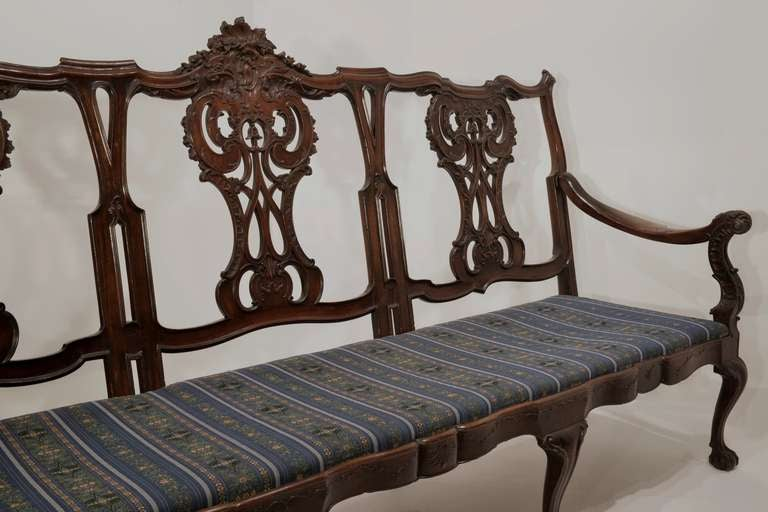 This extraordinary, Luso-Brazilian settee, or banco, is ornately carved in jacaranda wood. The five-seat piece was created, circa 1775 and has a northern Argentinian Provenance.