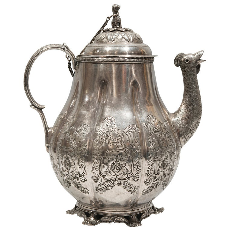 19th Century Pear-Shaped Silver Cafetera For Sale