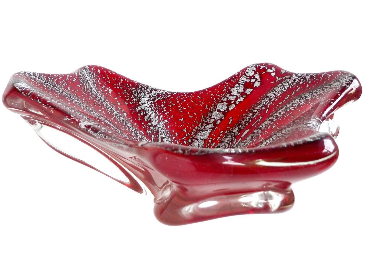 Murano Deep Red Silver Flecks Vintage Italian Art Glass  : 4424REDSilverBowl2l from www.1stdibs.com size 1280 x 982 jpeg 131kB