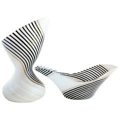 Dino Martens for Aureliano Toso, Murano Italian Art Glass Vase and Bowl