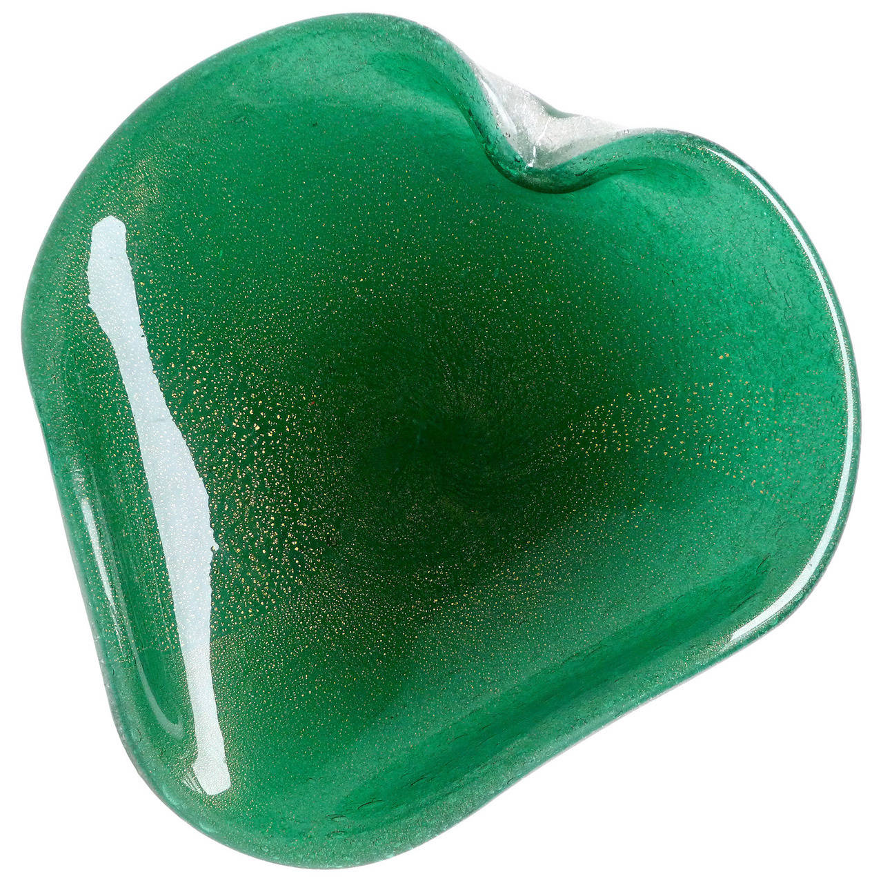Seguso Vetri D' Arte Murano Gold Flecks, Green Italian Art Glass Heart Bowl