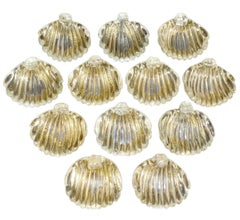 Signed Venini Murano 12 Piece Art Glass Italian Conch Shell Salt Dishes