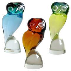 Salviati Murano Blue, Green, Orange Italian Art Glass Owl Bird Sculptures