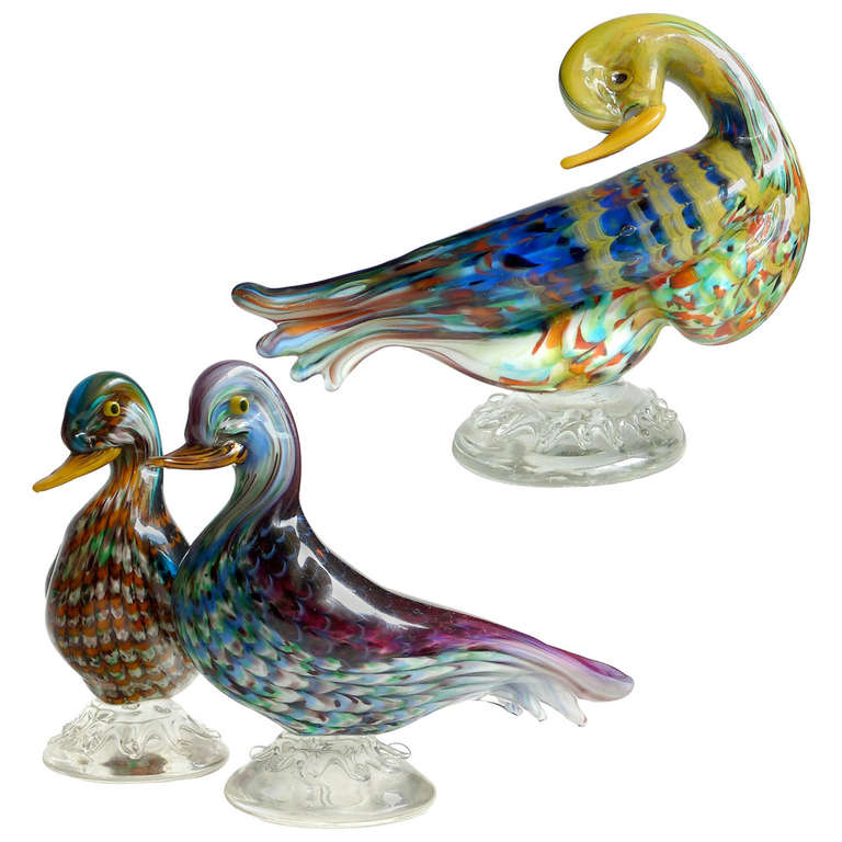 Colorful Murano Fenicio Pulled Feather Design Italian Art