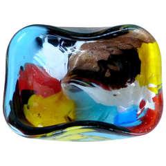 Dino Martens Aureliano Toso Murano Painted Oriente Italian Art Glass Ring Dish