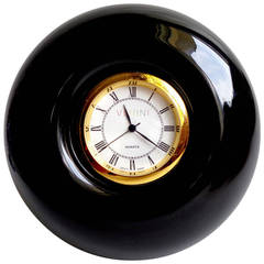 Signed Venini 99 Murano Jet Black Italian Art Glass Decorative Desk Clock