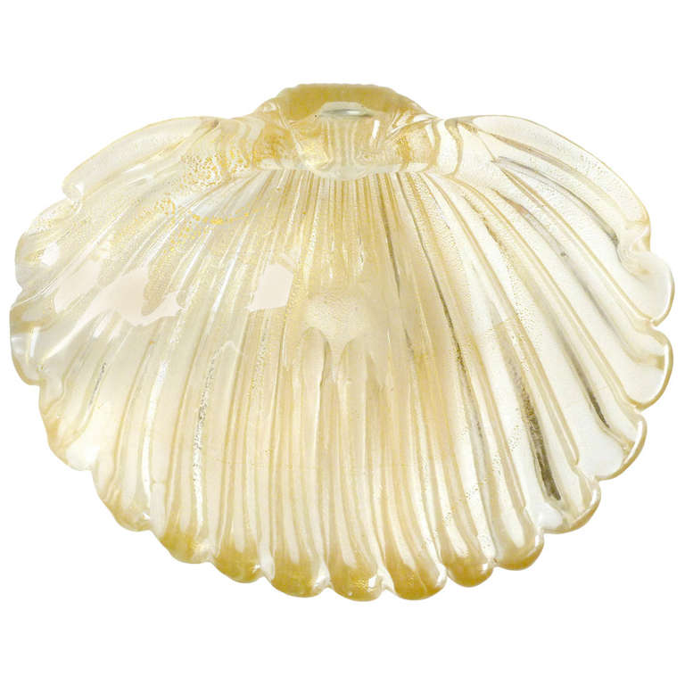 Archimede Seguso Murano Gold Flecks Italian Art Glass Conch Shell Center Bowl 1
