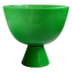 Murano Large Emerald Green Italian Art Glass Compote Bowl or Vase