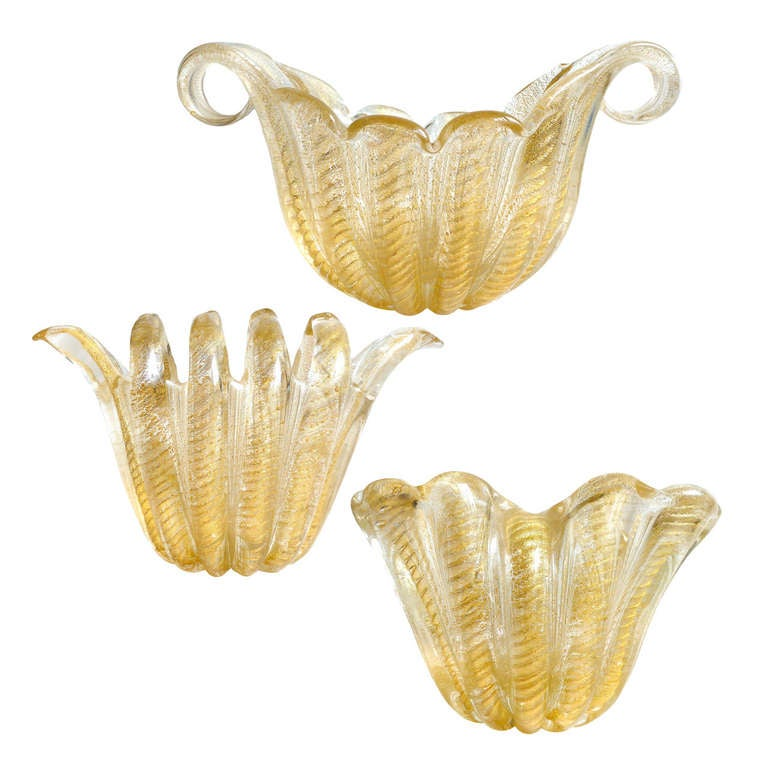 Ercole Barovier Toso Murano Gold Flecks Italian Art Glass Large Vases At 1stdibs