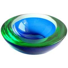 Murano Cobalt Blue Green Sommerso Round Italian Art Glass Decorative Bowl