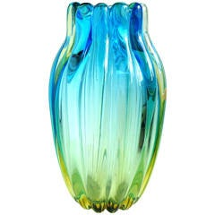 Alfredo Barbini Murano Sommerso Blue Yellow Ribbed Italian Art Glass Vase