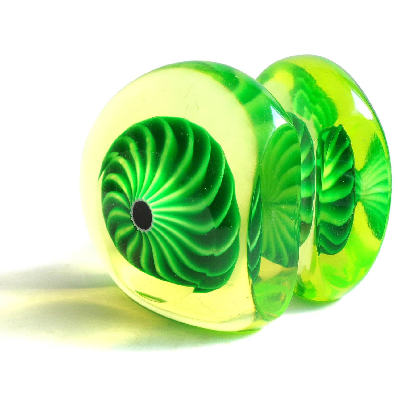 Galliano Ferro Murano Vaseline Green Swirl Design Italian Art ...