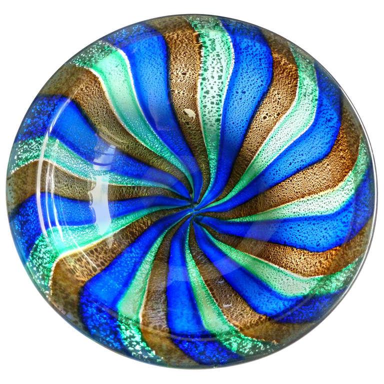 Decorative Dish Extraordinary Murano Silver Flecks Pinwheel Stripes Italian Art Glass Decorative Design Ideas