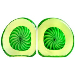 Galliano Ferro Murano Vaseline Green Swirl Design Italian Art Glass Bookends