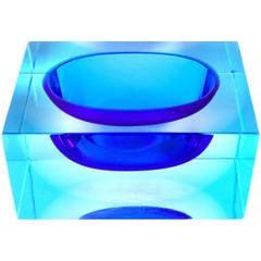 Murano Sommerso Cobalt and Light Blue Italian Rectangular Block Art Glass Bowl